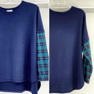 OSO CASUALS-Size 3X-Sweatshirt w/ Faux Flannel